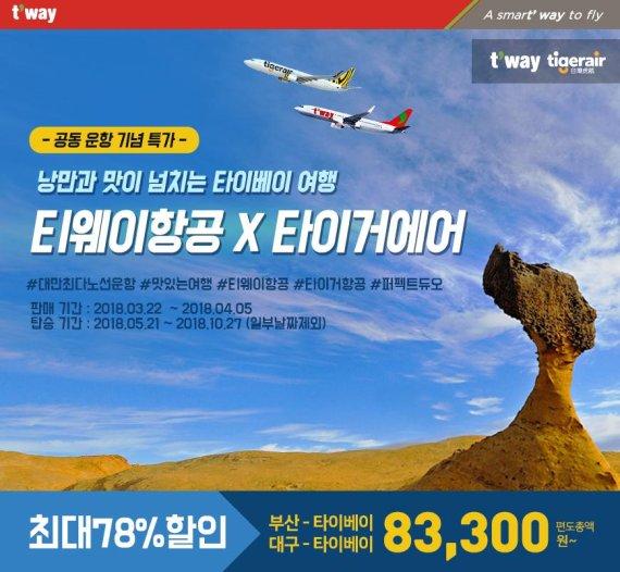 티웨이항공, 타이거에어 타이완과 공동운항 5월 개시