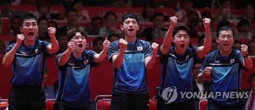 [아시안게임]높은 중국의 벽, 韓 탁구 남자 대표팀 은메달