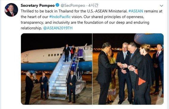 폼페이오 방콕 도착…韓日과 양자회담 이어 3자회담 예정