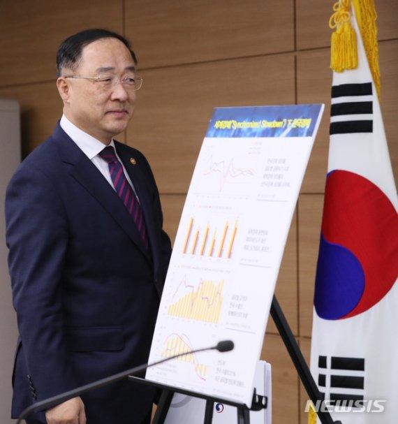"""[일문일답]홍남기 """"부동산 불안시 상한제 추가적용…주52시간 보완"""""""