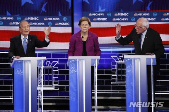 美 민주당 경선후보들, TV토론서 블룸버그 '난타'