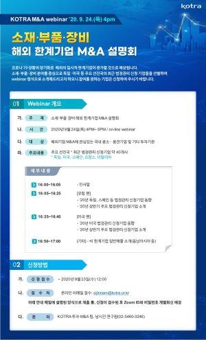 KOTRA, 24일 소재·부품·장비 해외한계기업 M&A 웹세미나
