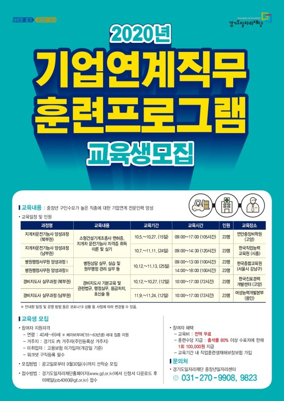 경기도일자리재단, 4060중장년층 '직무훈련' 교육생 모집