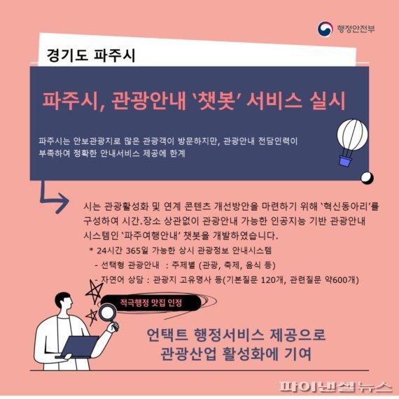 파주여행안내 챗봇 행안부 '적극행정 맛집' 선정
