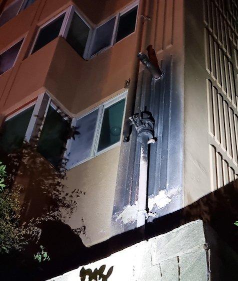 아파트 외벽 도시가스 배관 화재로 가스 누출