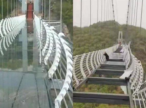 헉! 바닥 뚫렸다…관광객 걷던 260m 높이 유리다리 강풍에 와장창