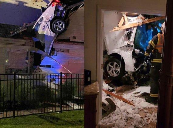 한밤중 침실 지붕 뚫고 처박힌 자동차.. 기적이 일어났다