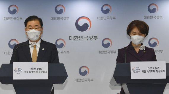 """159억원 들인 P4G, '서울' 대신 '평양' 영상..정의용 """"매우 유감"""""""
