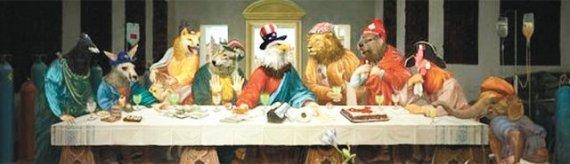 예수 대신 '흰독수리', 제자들 자리엔 '동물'..중국서 그려진 '최후의 G7'