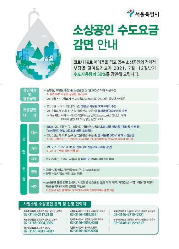 서울시, 7월부터 소상공인 수도요금 감면…총 280억