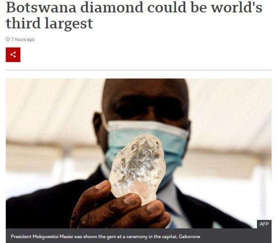 보츠와나서 3주만에 1000캐럿 넘는 다이아몬드 또 발견