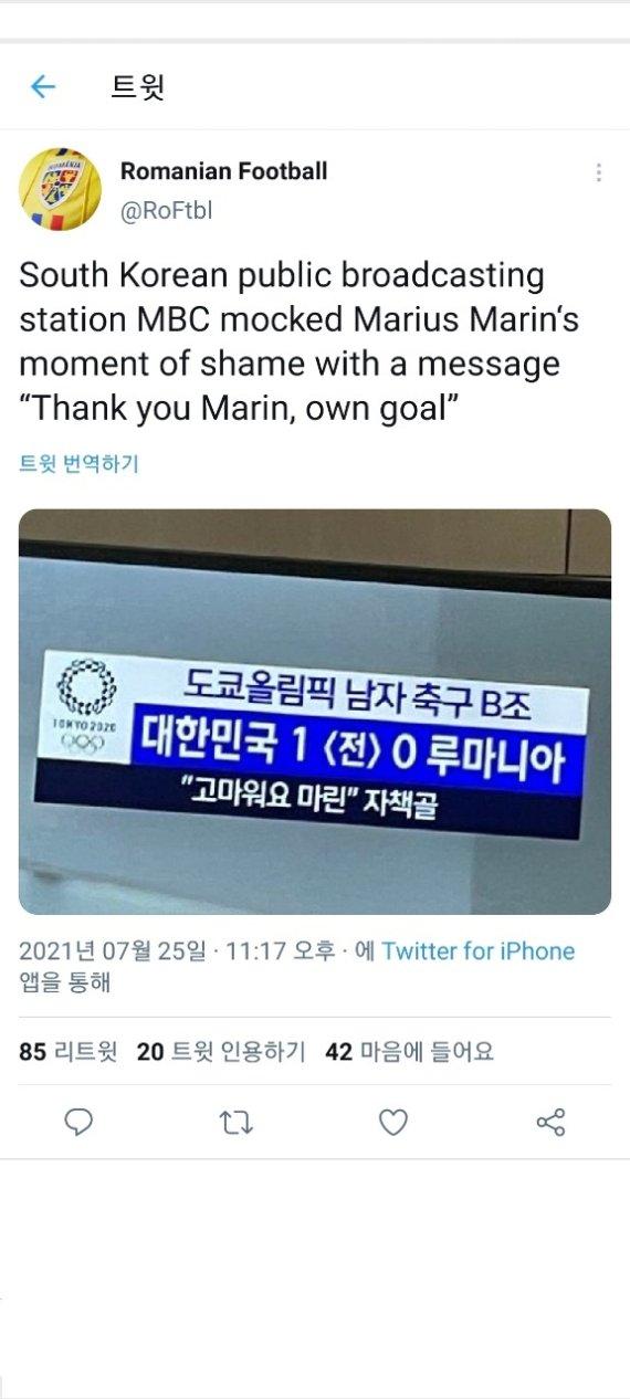 """자책골 루마니아 한국 누리꾼 사과에 """"괜찮다 나의 친구여"""""""