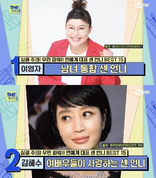 """'연예계 대표 센 언니' 1위는 이영자?...'노출증 환자냐"""" 김혜수 2위"""