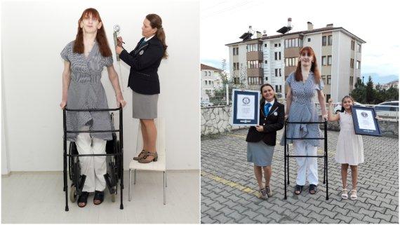 기네스 등재 '세계 최장신 여성'의 신장은 215㎝